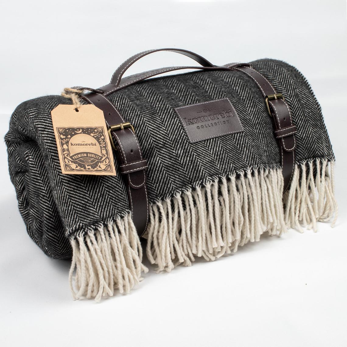 Komorebi Collection Extra Large Luxurious Faux Wool/Waterproof Picnic Blanket